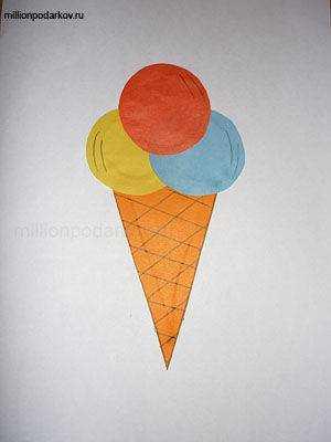 Поделка мороженое из цветной бумаги