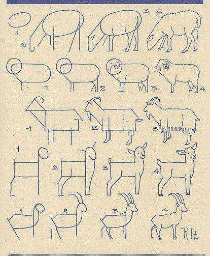 Як намалювати козу символ 2015 року